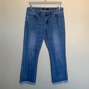 Max Jeans bootcut frayed hem cropped jeans sz 12